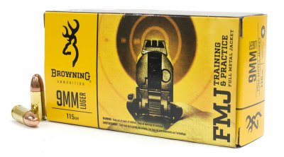 Ammunition Browning FMJ Training & Practice 9mm Luger 115 gr